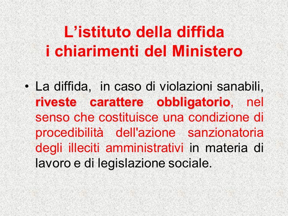 Listituto della diffida i chiarimenti del Ministero riveste carattere obbligatorioLa diffida, in caso di violazioni sanabili, riveste carattere obblig