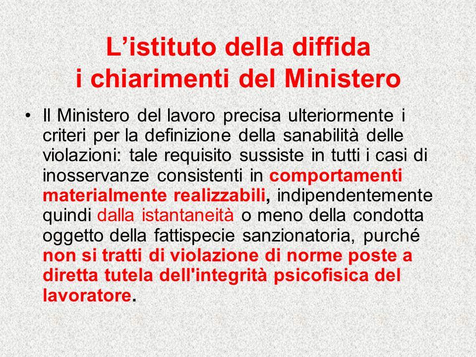 Listituto della diffida i chiarimenti del Ministero Il Ministero del lavoro precisa ulteriormente i criteri per la definizione della sanabilità delle