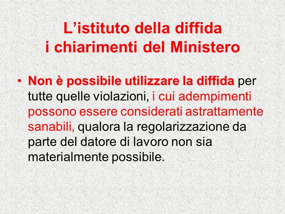 Listituto della diffida i chiarimenti del Ministero Non è possibile utilizzare la diffidaNon è possibile utilizzare la diffida per tutte quelle violaz