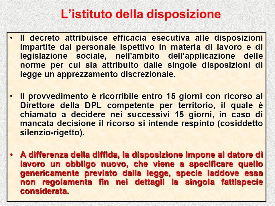 Listituto della disposizione Il decreto attribuisce efficacia esecutiva alle disposizioni impartite dal personale ispettivo in materia di lavoro e di
