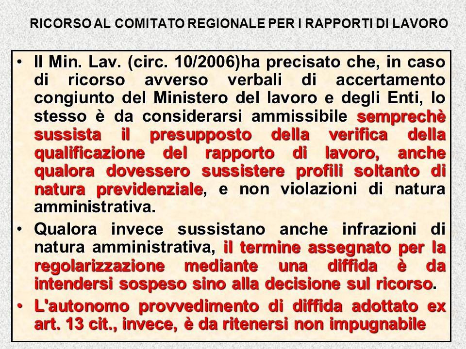 RICORSO AL COMITATO REGIONALE PER I RAPPORTI DI LAVORO Il Min. Lav. (circ. 10/2006)ha precisato che, in caso di ricorso avverso verbali di accertament