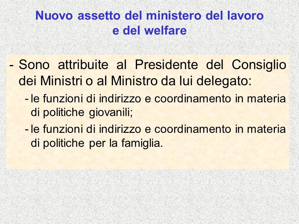 Nuovo assetto del ministero del lavoro e del welfare -Sono attribuite al Presidente del Consiglio dei Ministri o al Ministro da lui delegato: -le funz
