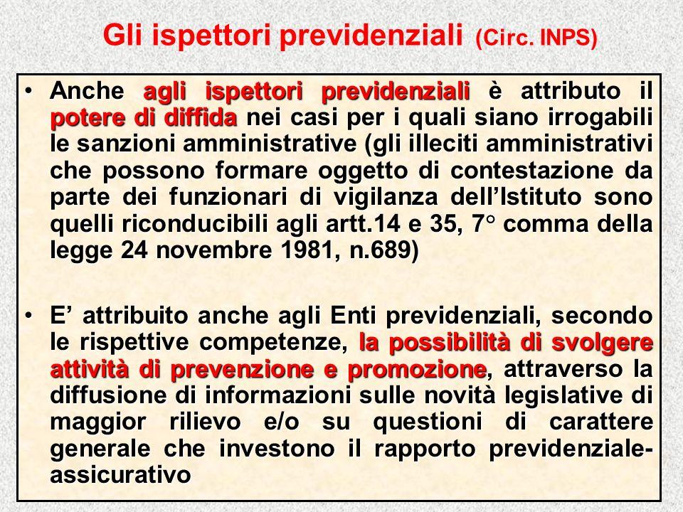 Gli ispettori previdenziali (Circ. INPS) Anche agli ispettori previdenziali è attributo il potere di diffida nei casi per i quali siano irrogabili le