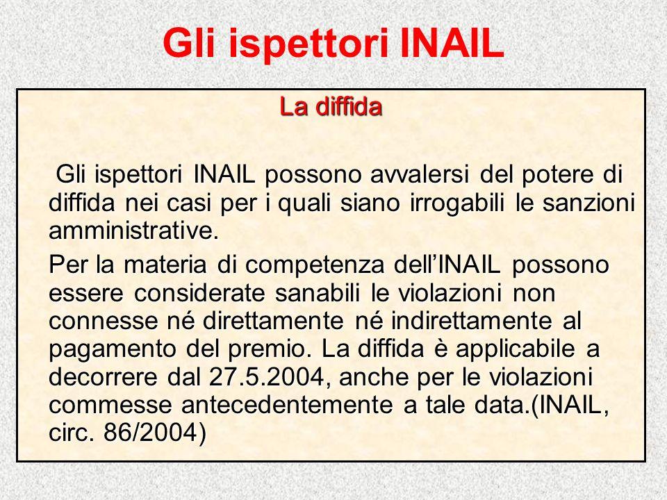 Gli ispettori INAIL La diffida Gli ispettori INAIL possono avvalersi del potere di diffida nei casi per i quali siano irrogabili le sanzioni amministr