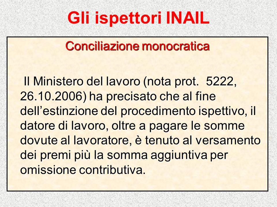 Gli ispettori INAIL Conciliazione monocratica Il Ministero del lavoro (nota prot. 5222, 26.10.2006) ha precisato che al fine dellestinzione del proced
