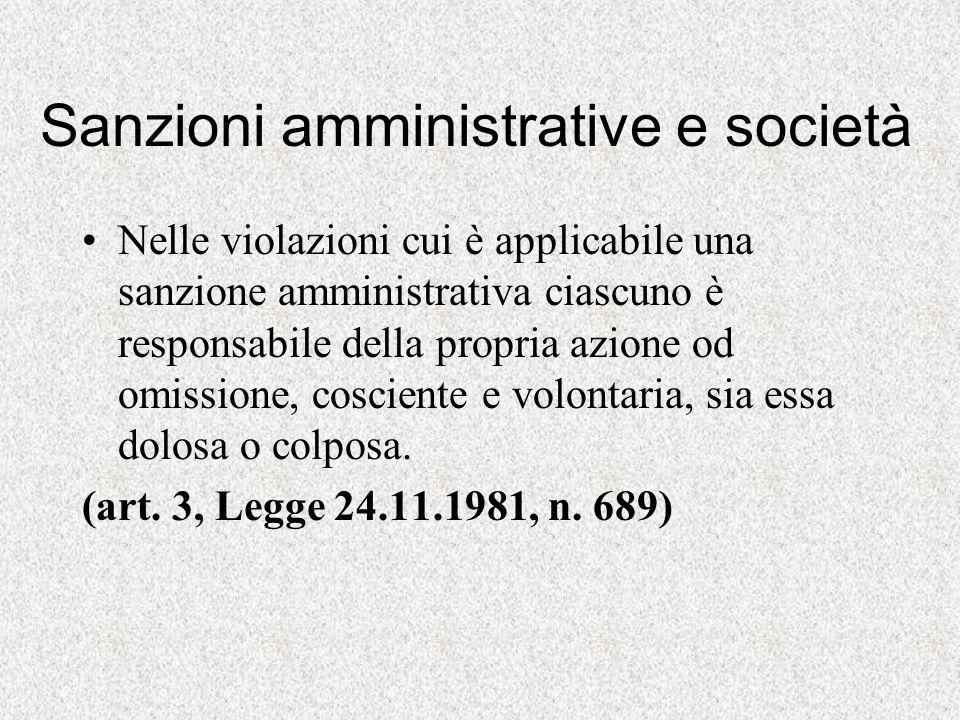 Sanzioni amministrative e società Nelle violazioni cui è applicabile una sanzione amministrativa ciascuno è responsabile della propria azione od omiss