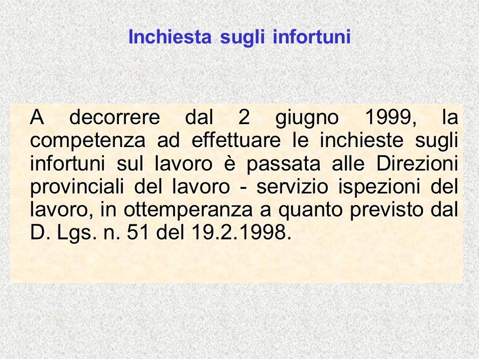 Inchiesta sugli infortuni A decorrere dal 2 giugno 1999, la competenza ad effettuare le inchieste sugli infortuni sul lavoro è passata alle Direzioni