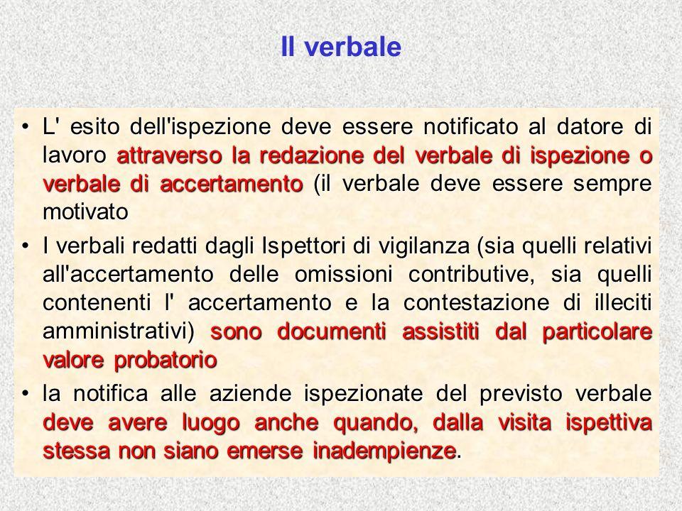 Il verbale L' esito dell'ispezione deve essere notificato al datore di lavoro attraverso la redazione del verbale di ispezione o verbale di accertamen