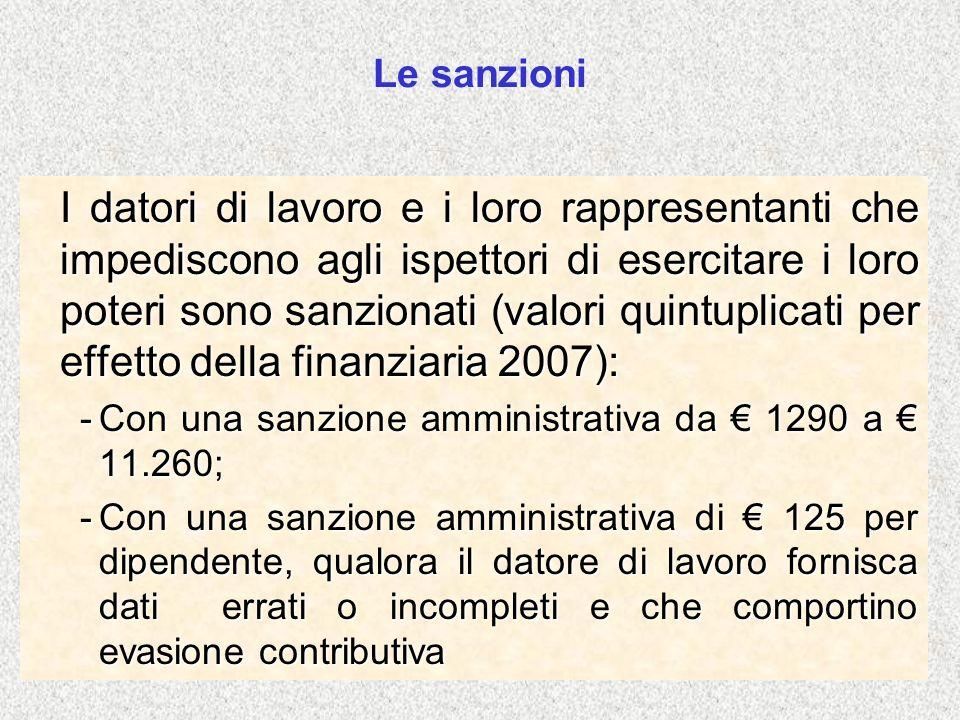 Le sanzioni I datori di lavoro e i loro rappresentanti che impediscono agli ispettori di esercitare i loro poteri sono sanzionati (valori quintuplicat