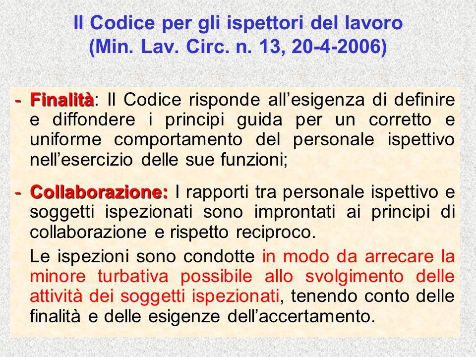 Il Codice per gli ispettori del lavoro (Min. Lav. Circ. n. 13, 20-4-2006) -Finalità: ; -Finalità: Il Codice risponde allesigenza di definire e diffond