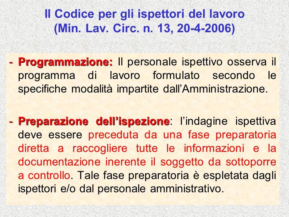 Il Codice per gli ispettori del lavoro (Min. Lav. Circ. n. 13, 20-4-2006) -Programmazione: -Programmazione: Il personale ispettivo osserva il programm