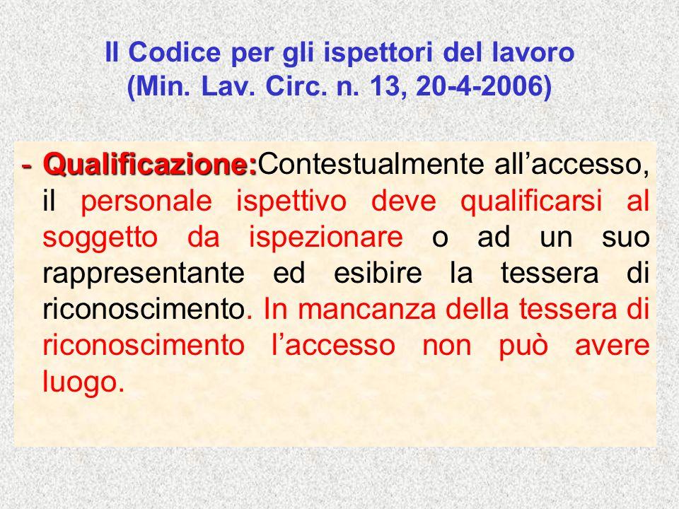 Il Codice per gli ispettori del lavoro (Min. Lav. Circ. n. 13, 20-4-2006) -Qualificazione: -Qualificazione:Contestualmente allaccesso, il personale is