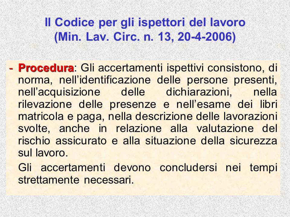 Il Codice per gli ispettori del lavoro (Min. Lav. Circ. n. 13, 20-4-2006) -Procedura: -Procedura: Gli accertamenti ispettivi consistono, di norma, nel