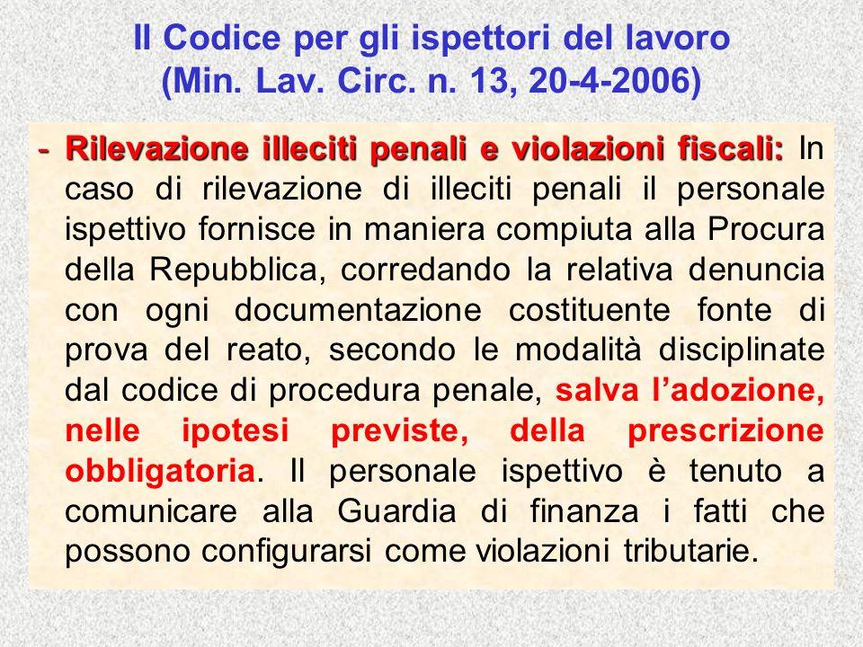 Il Codice per gli ispettori del lavoro (Min. Lav. Circ. n. 13, 20-4-2006) -Rilevazione illeciti penali e violazioni fiscali: -Rilevazione illeciti pen