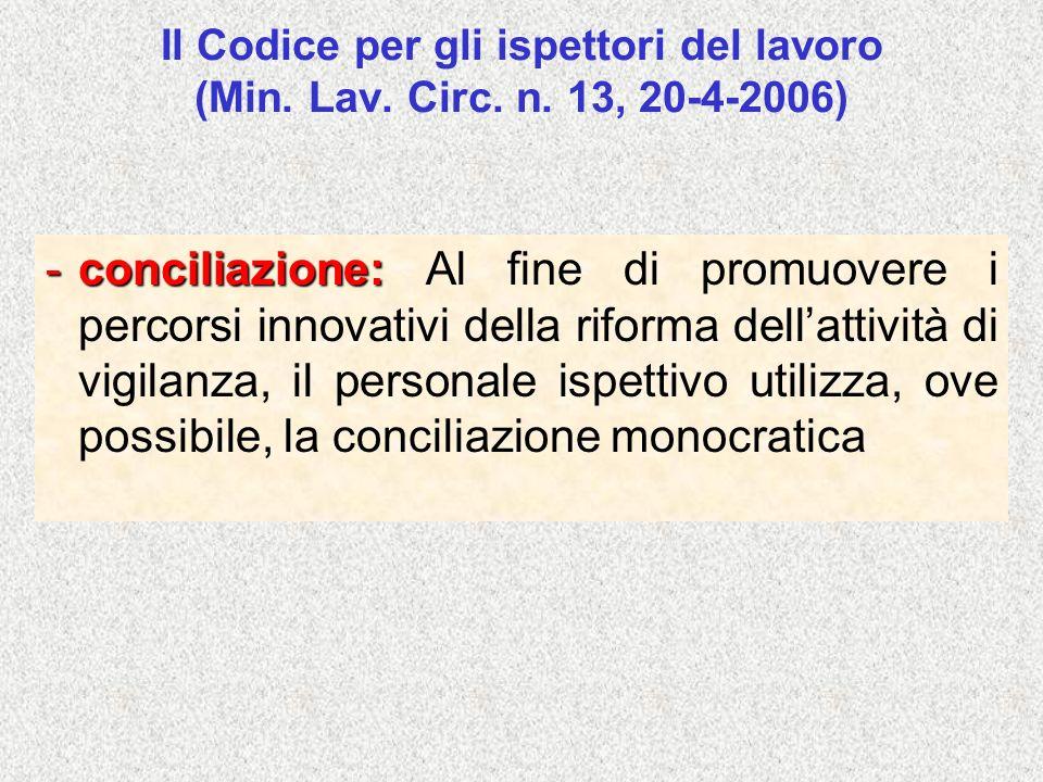 Il Codice per gli ispettori del lavoro (Min. Lav. Circ. n. 13, 20-4-2006) -conciliazione: -conciliazione: Al fine di promuovere i percorsi innovativi