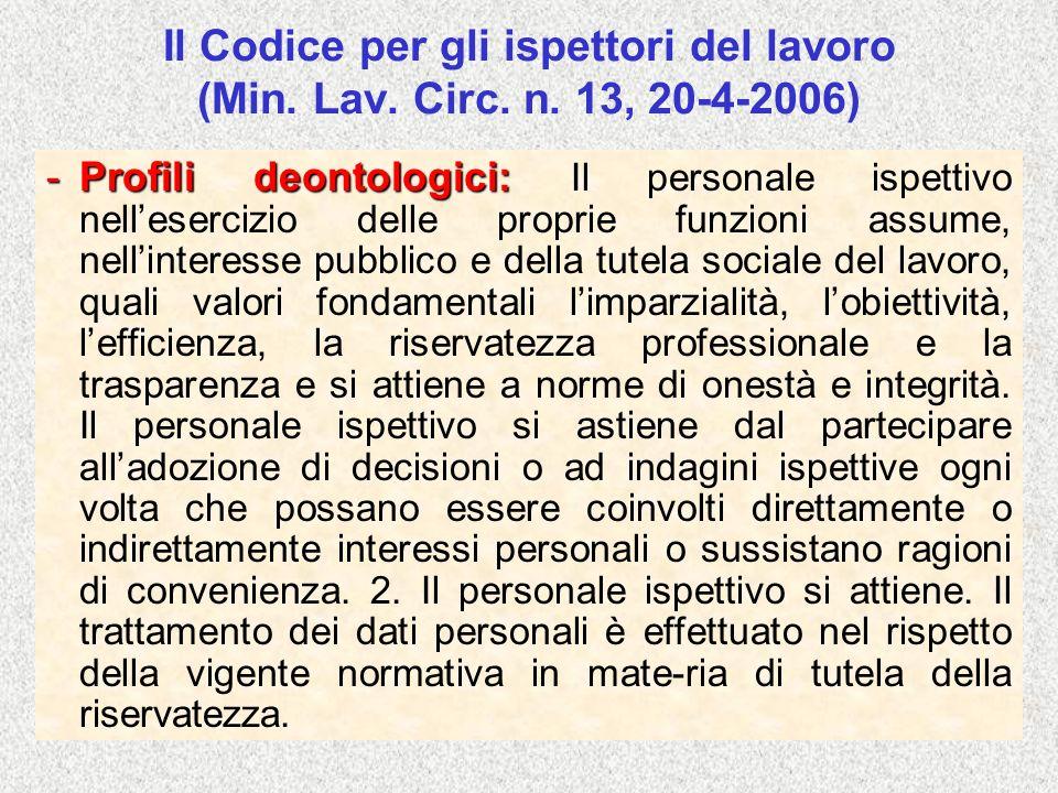 Il Codice per gli ispettori del lavoro (Min. Lav. Circ. n. 13, 20-4-2006) -Profili deontologici: -Profili deontologici: Il personale ispettivo nellese
