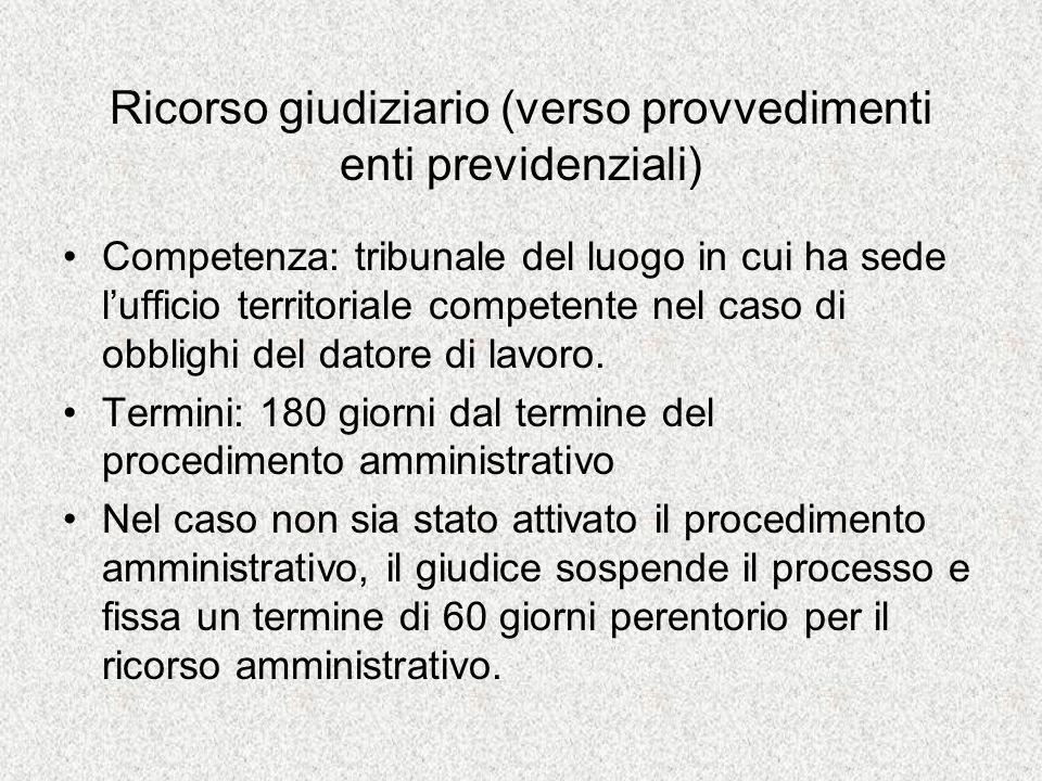 Ricorso giudiziario (verso provvedimenti enti previdenziali) Competenza: tribunale del luogo in cui ha sede lufficio territoriale competente nel caso