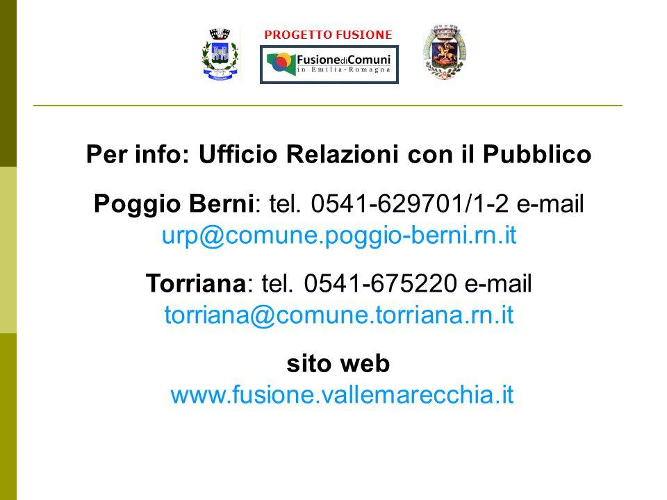 PROGETTO FUSIONE Per info: Ufficio Relazioni con il Pubblico Poggio Berni: tel. 0541-629701/1-2 e-mail urp@comune.poggio-berni.rn.it Torriana: tel. 05