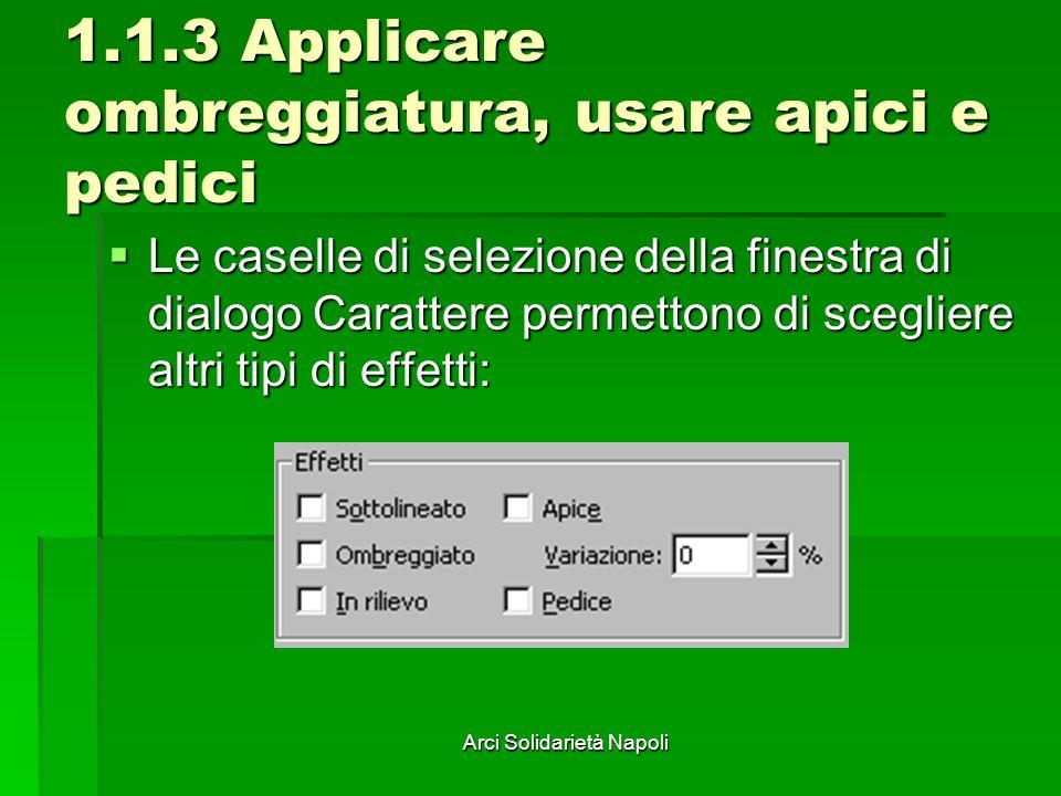 Arci Solidarietà Napoli 1.1.3 Applicare ombreggiatura, usare apici e pedici Le caselle di selezione della finestra di dialogo Carattere permettono di