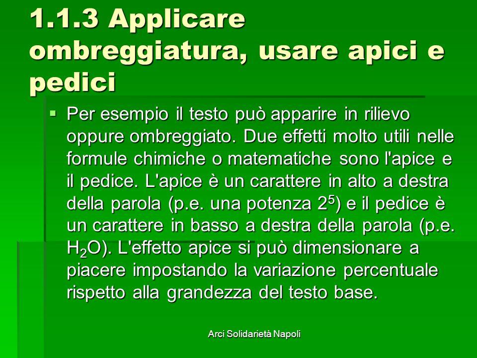 Arci Solidarietà Napoli 1.1.3 Applicare ombreggiatura, usare apici e pedici Per esempio il testo può apparire in rilievo oppure ombreggiato. Due effet