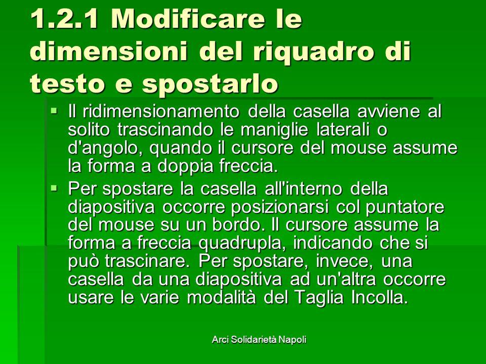 Arci Solidarietà Napoli 1.2.1 Modificare le dimensioni del riquadro di testo e spostarlo Il ridimensionamento della casella avviene al solito trascina