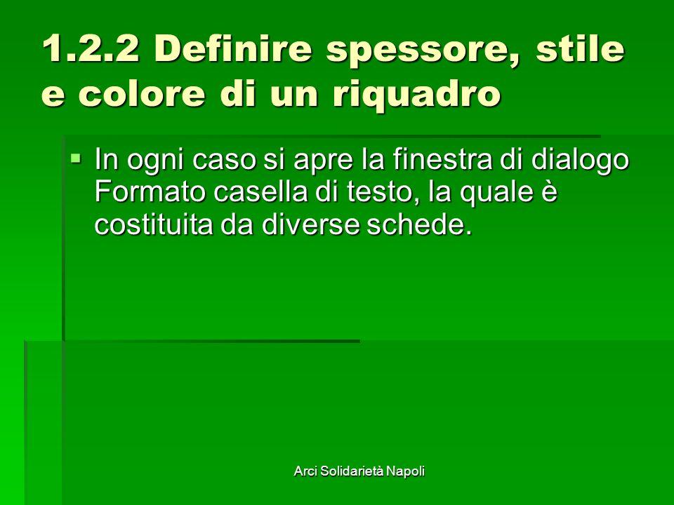 Arci Solidarietà Napoli 1.2.2 Definire spessore, stile e colore di un riquadro In ogni caso si apre la finestra di dialogo Formato casella di testo, l