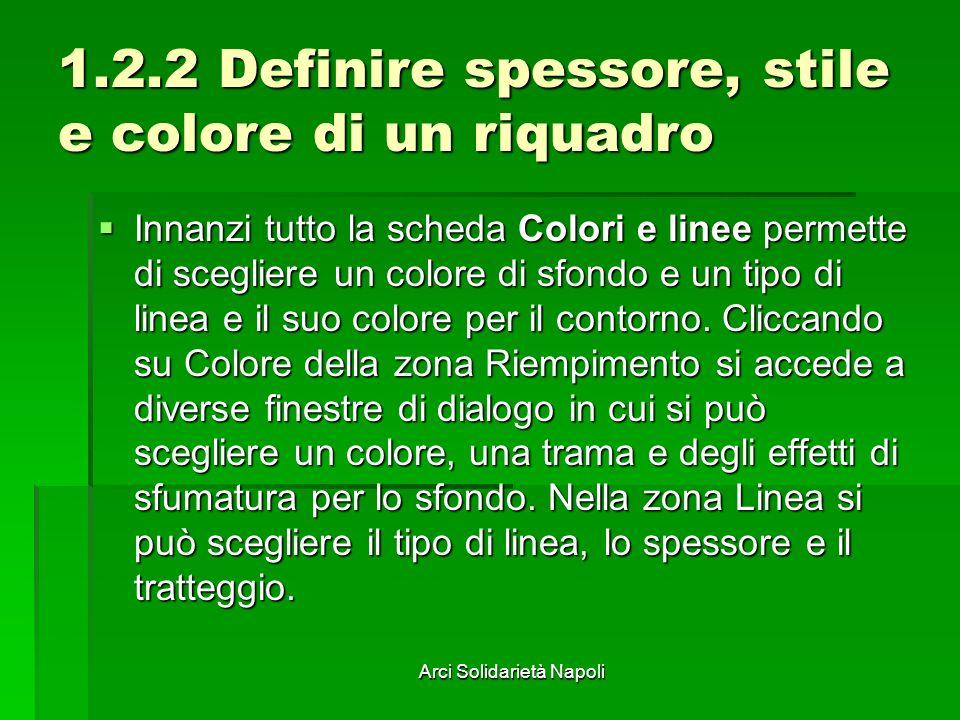 Arci Solidarietà Napoli 1.2.2 Definire spessore, stile e colore di un riquadro Innanzi tutto la scheda Colori e linee permette di scegliere un colore