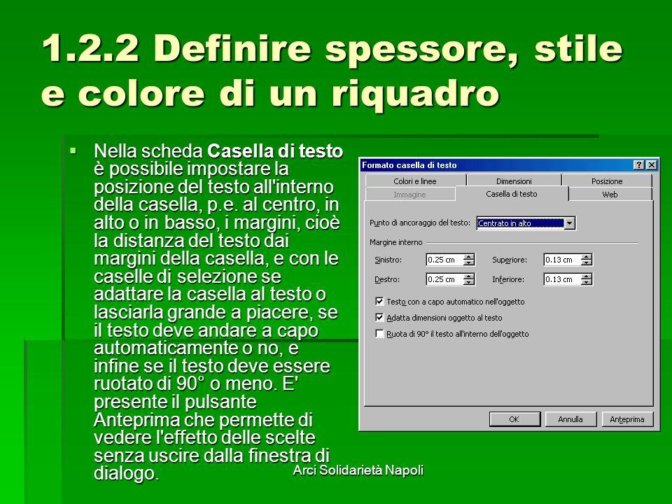 Arci Solidarietà Napoli 1.2.2 Definire spessore, stile e colore di un riquadro Nella scheda Casella di testo è possibile impostare la posizione del te
