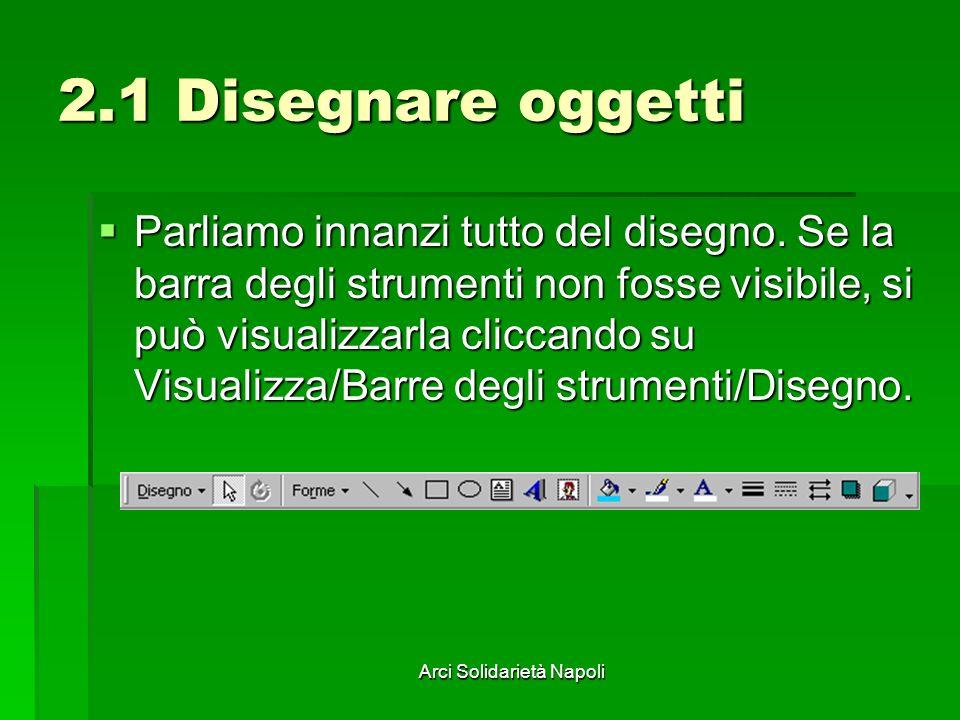 Arci Solidarietà Napoli 2.1 Disegnare oggetti Parliamo innanzi tutto del disegno. Se la barra degli strumenti non fosse visibile, si può visualizzarla