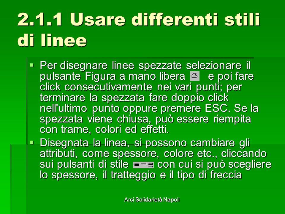 Arci Solidarietà Napoli 2.1.1 Usare differenti stili di linee Per disegnare linee spezzate selezionare il pulsante Figura a mano libera e poi fare cli