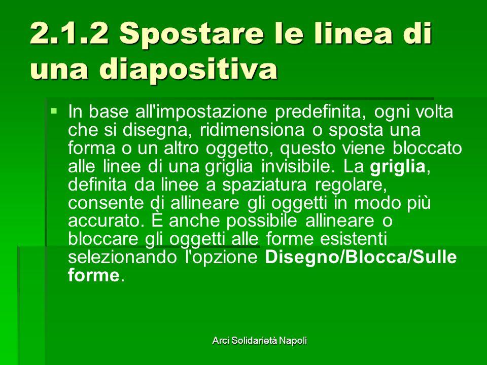Arci Solidarietà Napoli 2.1.2 Spostare le linea di una diapositiva In base all'impostazione predefinita, ogni volta che si disegna, ridimensiona o spo