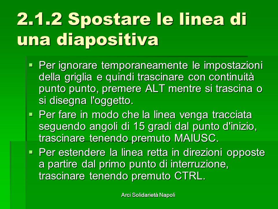 Arci Solidarietà Napoli 2.1.2 Spostare le linea di una diapositiva Per ignorare temporaneamente le impostazioni della griglia e quindi trascinare con