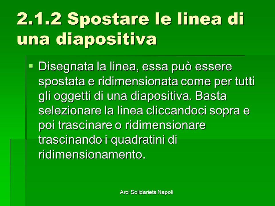 Arci Solidarietà Napoli 2.1.2 Spostare le linea di una diapositiva Disegnata la linea, essa può essere spostata e ridimensionata come per tutti gli og