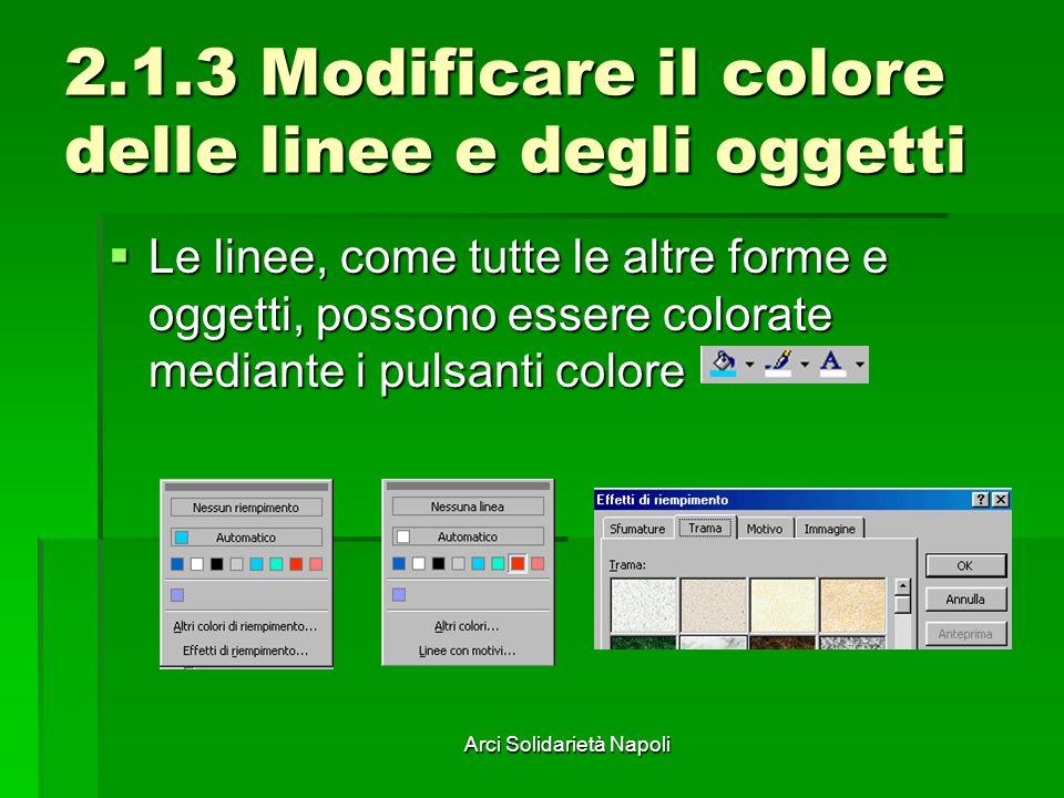 Arci Solidarietà Napoli 2.1.3 Modificare il colore delle linee e degli oggetti Le linee, come tutte le altre forme e oggetti, possono essere colorate