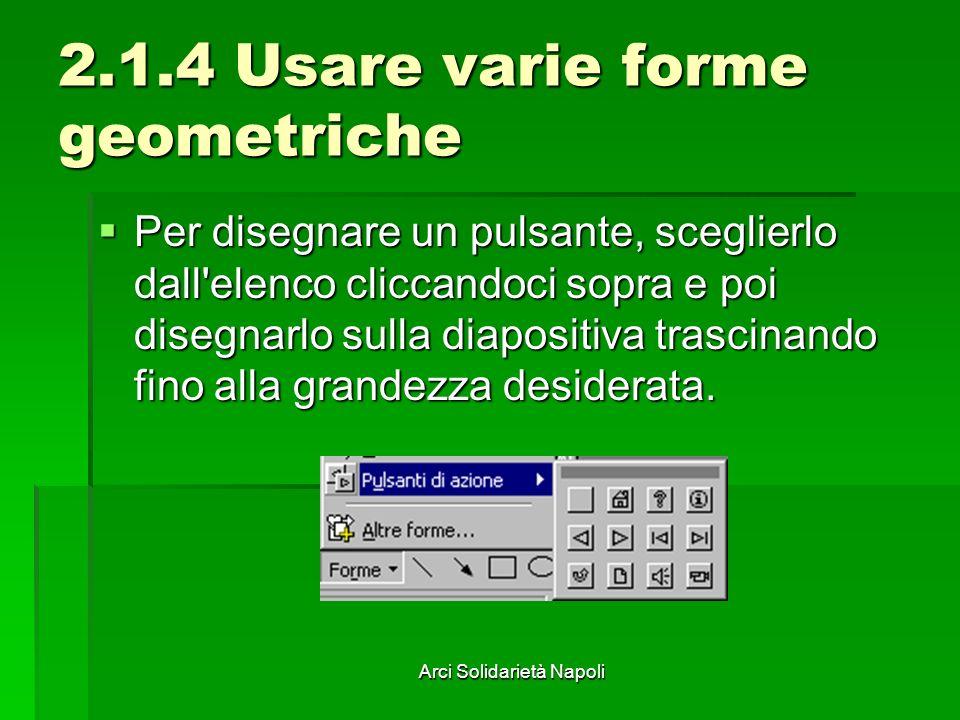 Arci Solidarietà Napoli 2.1.4 Usare varie forme geometriche Per disegnare un pulsante, sceglierlo dall'elenco cliccandoci sopra e poi disegnarlo sulla
