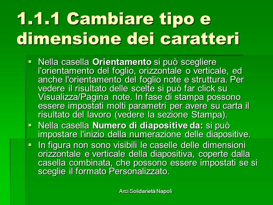 Arci Solidarietà Napoli 1.1.1 Cambiare tipo e dimensione dei caratteri Abbiamo già detto che il testo di una diapositiva è contenuto sempre in una casella di testo, e questo per poterlo distribuire a piacimento.
