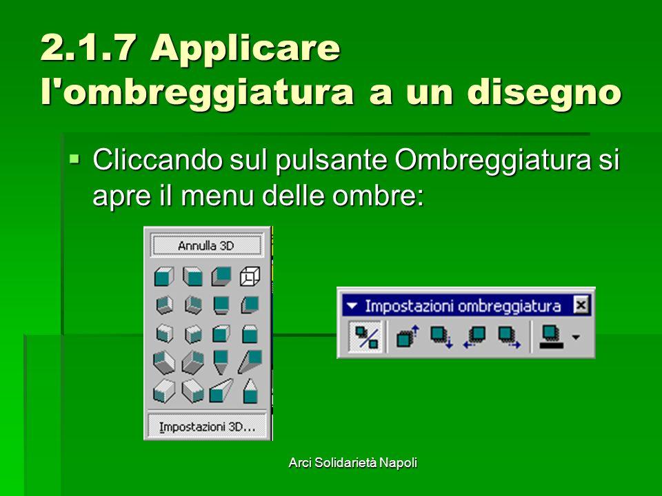 Arci Solidarietà Napoli 2.1.7 Applicare l'ombreggiatura a un disegno Cliccando sul pulsante Ombreggiatura si apre il menu delle ombre: Cliccando sul p