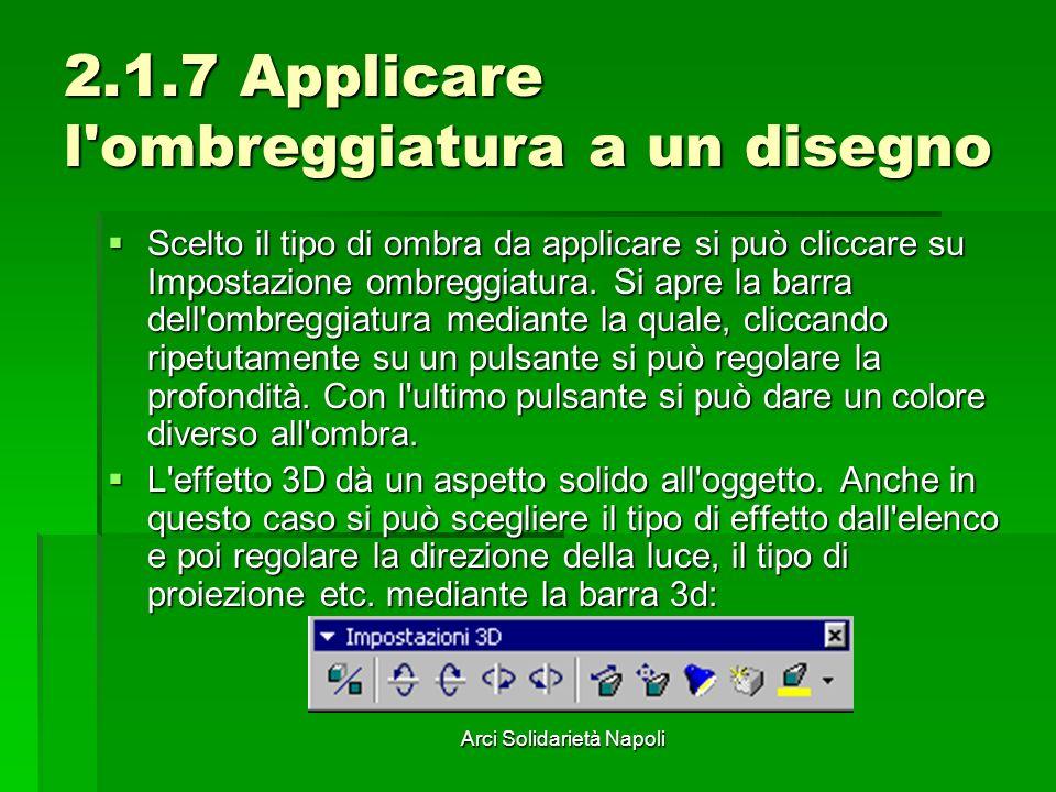 Arci Solidarietà Napoli 2.1.7 Applicare l'ombreggiatura a un disegno Scelto il tipo di ombra da applicare si può cliccare su Impostazione ombreggiatur