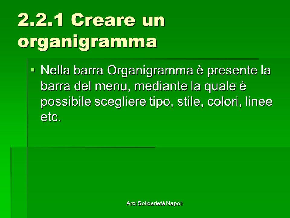 Arci Solidarietà Napoli 2.2.1 Creare un organigramma Nella barra Organigramma è presente la barra del menu, mediante la quale è possibile scegliere ti