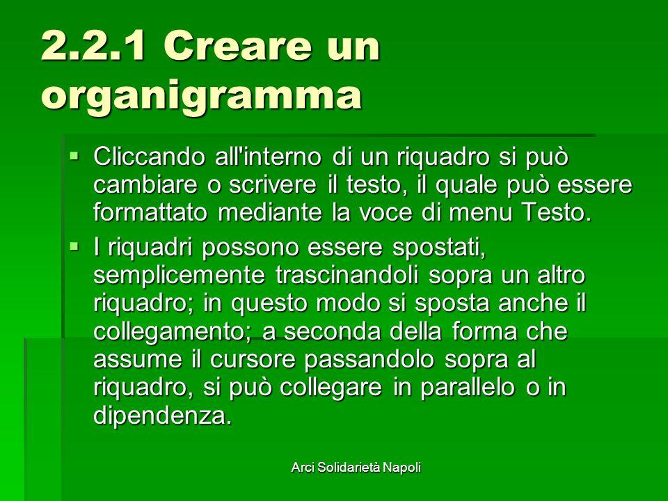 Arci Solidarietà Napoli 2.2.1 Creare un organigramma Cliccando all'interno di un riquadro si può cambiare o scrivere il testo, il quale può essere for