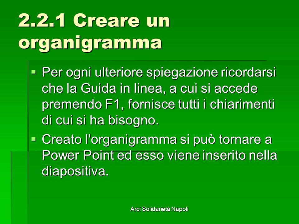Arci Solidarietà Napoli 2.2.1 Creare un organigramma Per ogni ulteriore spiegazione ricordarsi che la Guida in linea, a cui si accede premendo F1, for