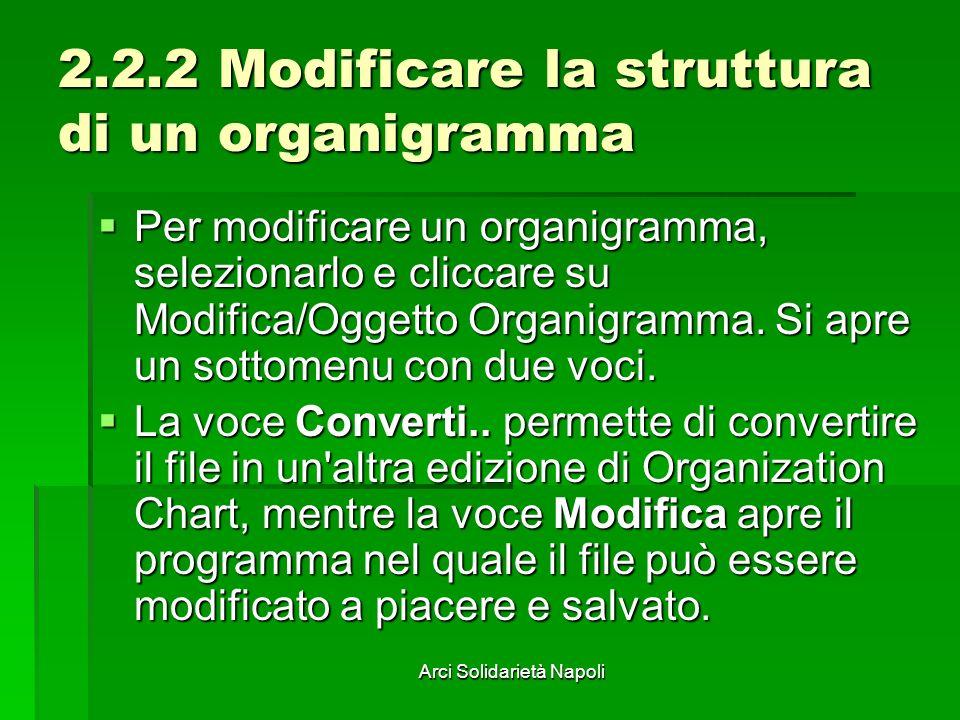 Arci Solidarietà Napoli 2.2.2 Modificare la struttura di un organigramma Per modificare un organigramma, selezionarlo e cliccare su Modifica/Oggetto O