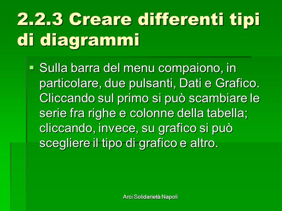 Arci Solidarietà Napoli 2.2.3 Creare differenti tipi di diagrammi Sulla barra del menu compaiono, in particolare, due pulsanti, Dati e Grafico. Clicca