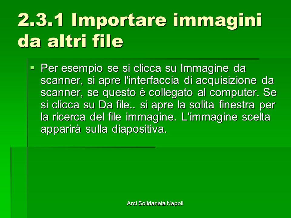 Arci Solidarietà Napoli 2.3.1 Importare immagini da altri file Per esempio se si clicca su Immagine da scanner, si apre l'interfaccia di acquisizione