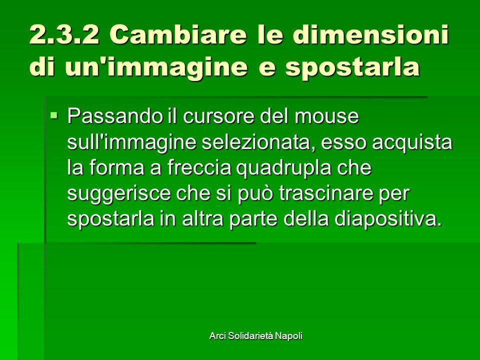 Arci Solidarietà Napoli 2.3.2 Cambiare le dimensioni di un'immagine e spostarla Passando il cursore del mouse sull'immagine selezionata, esso acquista
