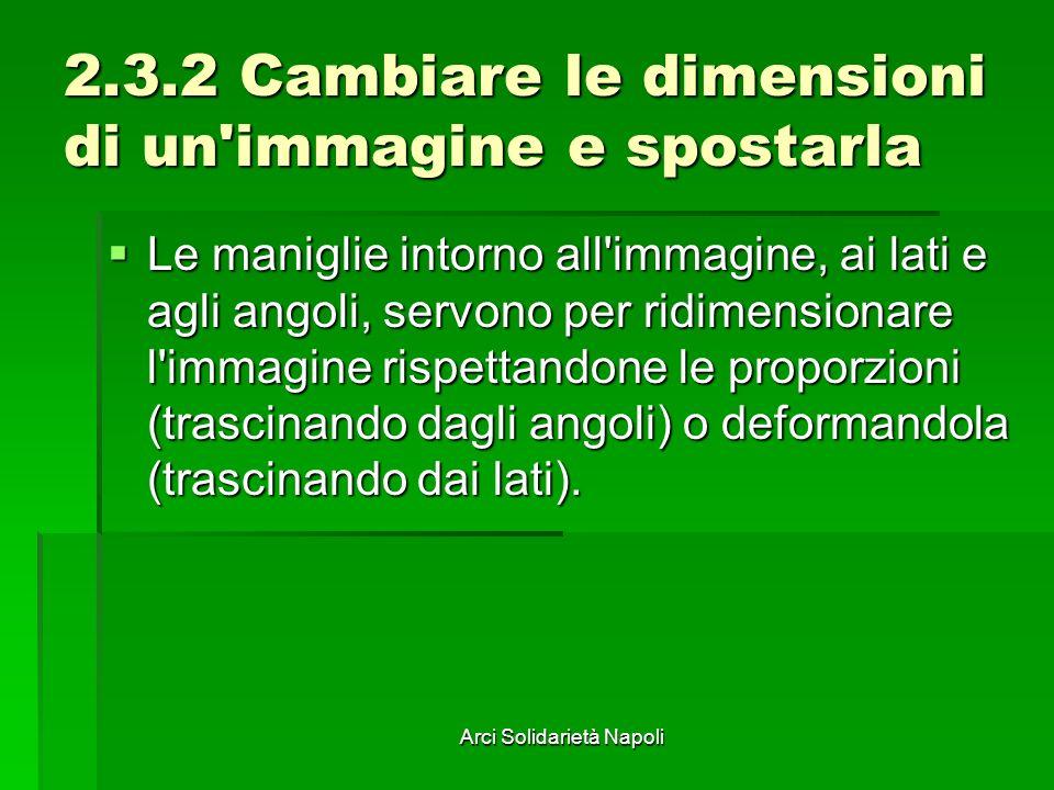 Arci Solidarietà Napoli 2.3.2 Cambiare le dimensioni di un'immagine e spostarla Le maniglie intorno all'immagine, ai lati e agli angoli, servono per r