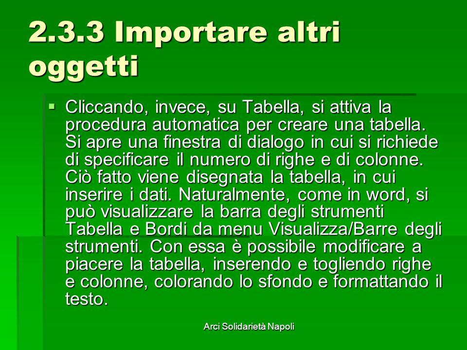 Arci Solidarietà Napoli 2.3.3 Importare altri oggetti Cliccando, invece, su Tabella, si attiva la procedura automatica per creare una tabella. Si apre