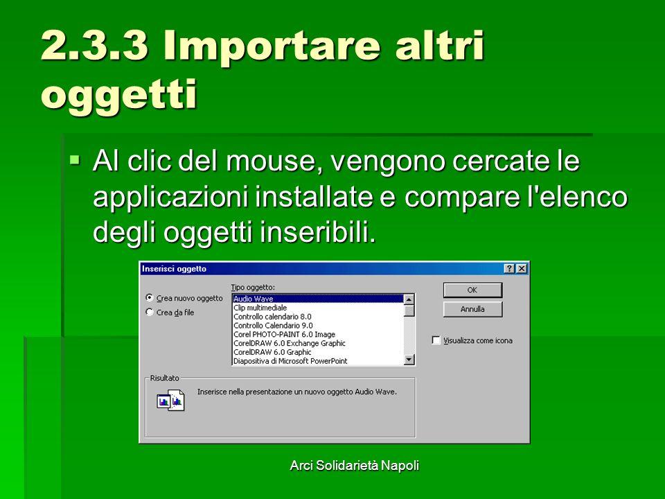 Arci Solidarietà Napoli 2.3.3 Importare altri oggetti Al clic del mouse, vengono cercate le applicazioni installate e compare l'elenco degli oggetti i