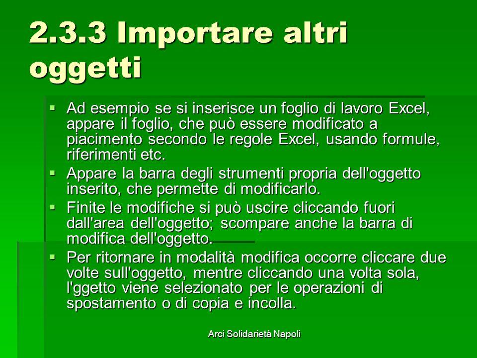 Arci Solidarietà Napoli 2.3.3 Importare altri oggetti Ad esempio se si inserisce un foglio di lavoro Excel, appare il foglio, che può essere modificat