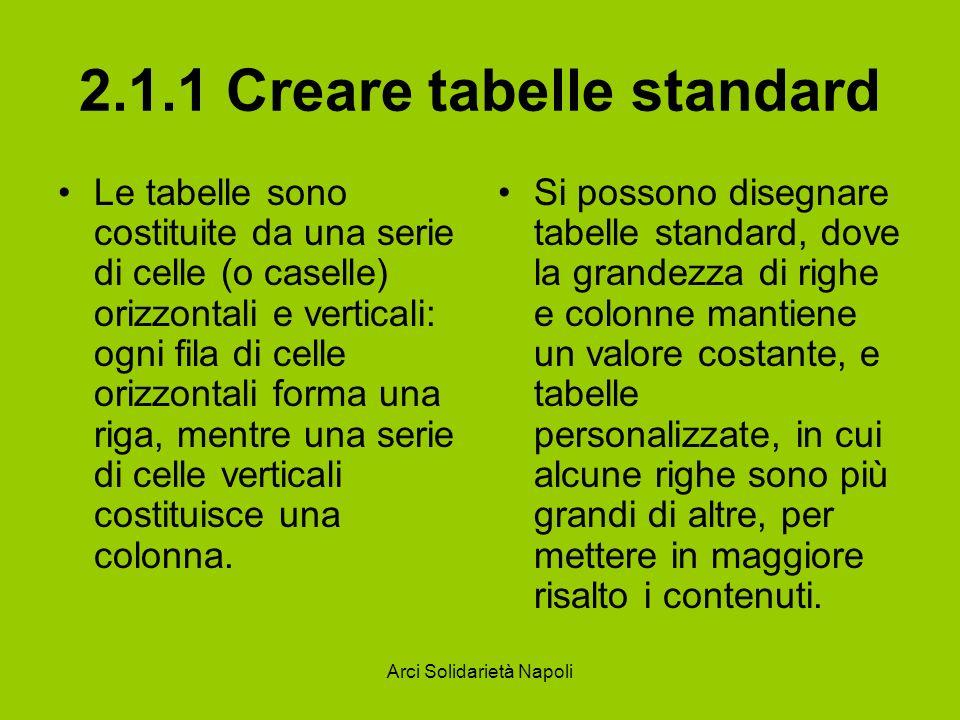 Arci Solidarietà Napoli 2.1.1 Creare tabelle standard Le tabelle sono costituite da una serie di celle (o caselle) orizzontali e verticali: ogni fila di celle orizzontali forma una riga, mentre una serie di celle verticali costituisce una colonna.
